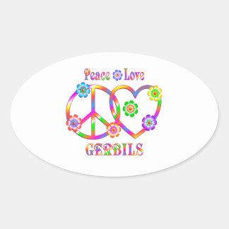 Peace Love Gerbils Oval Sticker