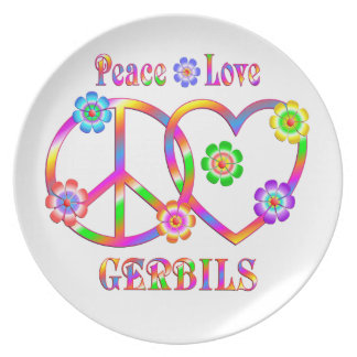 Peace Love Gerbils Plate