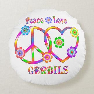 Peace Love Gerbils Round Pillow