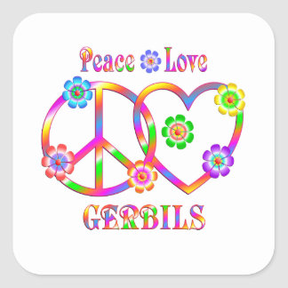 Peace Love Gerbils Square Sticker