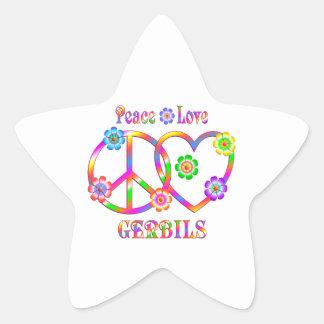 Peace Love Gerbils Star Sticker