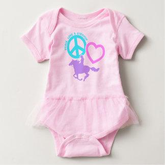 PEACE-LOVE-GIDDYUP BABY BODYSUIT