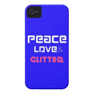 Peace Love Glitter Blue iPhone 4 Cases