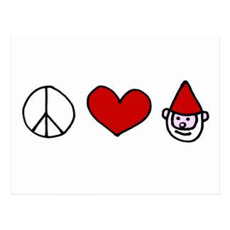 Peace Love Gnome Postcard