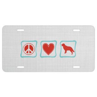 Peace Love Golden Retriever Squares License Plate