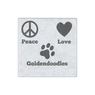 Peace Love Goldendoodles Stone Magnets