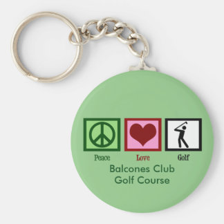 Peace Love Golf Custom Country Club or Course Basic Round Button Keychain