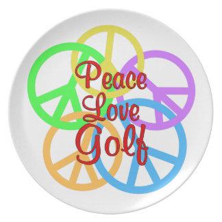 Peace Love Golf Dinner Plates