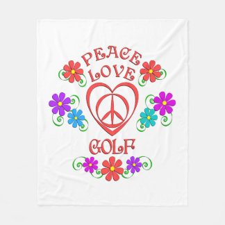 Peace Love Golf Fleece Blanket
