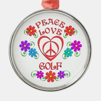 Peace Love Golf Metal Ornament