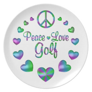 Peace Love Golf Party Plate