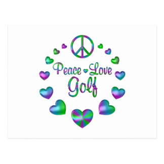 Peace Love Golf Postcard
