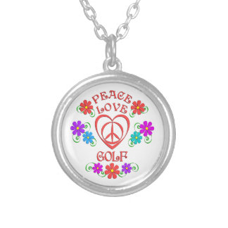 Peace Love Golf Silver Plated Necklace