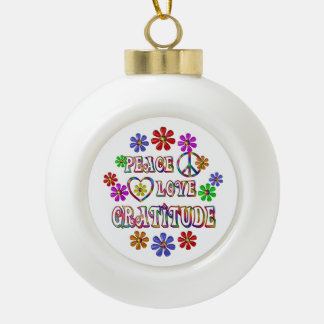 Peace Love Gratitude Ceramic Ball Christmas Ornament