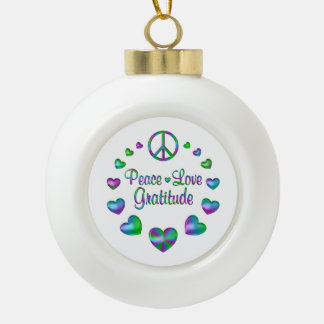 Peace Love Gratitude Ceramic Ball Ornament