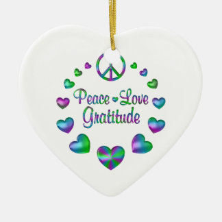 Peace Love Gratitude Ceramic Heart Ornament