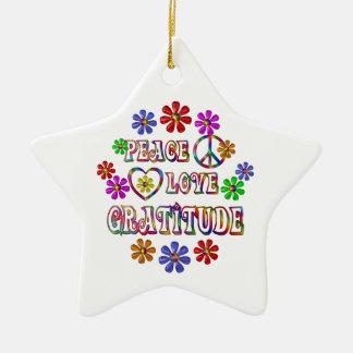 Peace Love Gratitude Ceramic Ornament