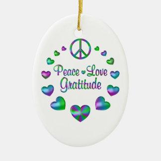 Peace Love Gratitude Ceramic Oval Ornament