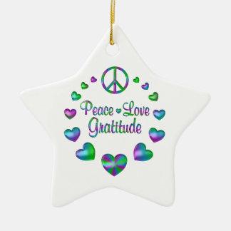 Peace Love Gratitude Ceramic Star Ornament
