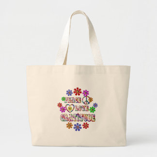 Peace Love Gratitude Large Tote Bag