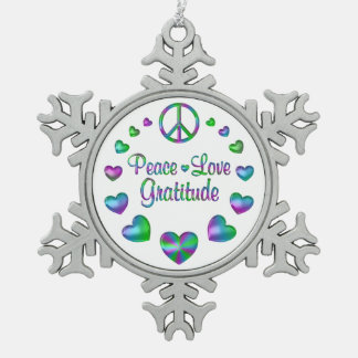 Peace Love Gratitude Pewter Snowflake Ornament