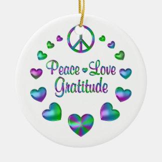Peace Love Gratitude Round Ceramic Ornament
