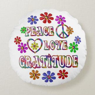 Peace Love Gratitude Round Pillow