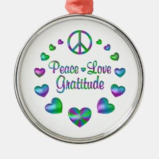 Peace Love Gratitude Silver-Colored Round Ornament