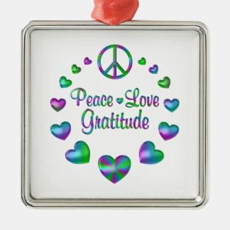 Peace Love Gratitude Silver-Colored Square Ornament
