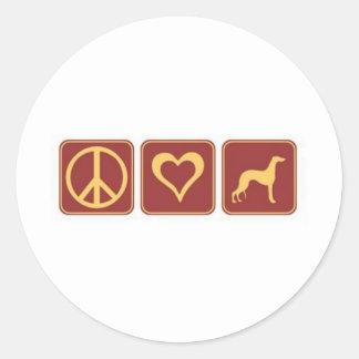 Peace Love Greyhound Classic Round Sticker