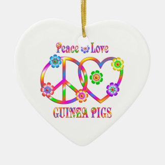 Peace Love Guinea Pigs Ceramic Heart Ornament