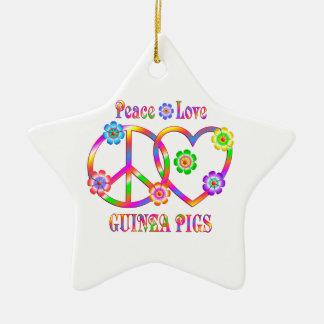 Peace Love Guinea Pigs Ceramic Star Ornament