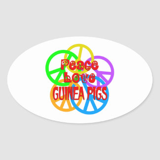 Peace Love Guinea Pigs Oval Sticker