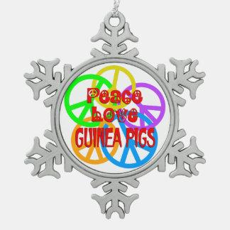 Peace Love Guinea Pigs Pewter Snowflake Ornament