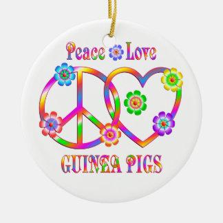 Peace Love Guinea Pigs Round Ceramic Ornament