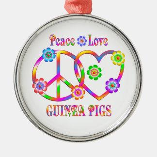 Peace Love Guinea Pigs Silver-Colored Round Ornament