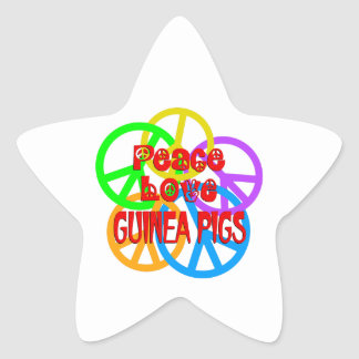 Peace Love Guinea Pigs Star Sticker