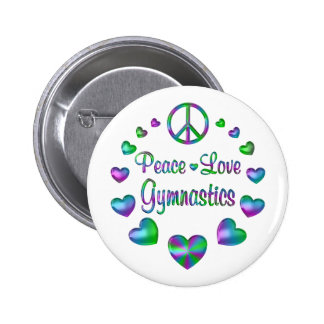 Peace Love Gymnastics 2 Inch Round Button