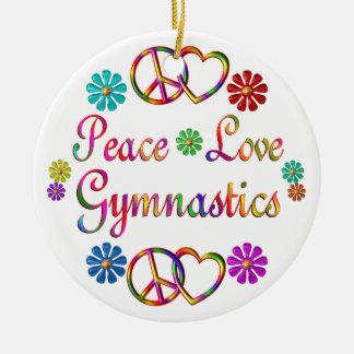 PEACE LOVE GYMNASTICS CERAMIC ORNAMENT