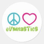 Peace Love Gymnastics Classic Round Sticker