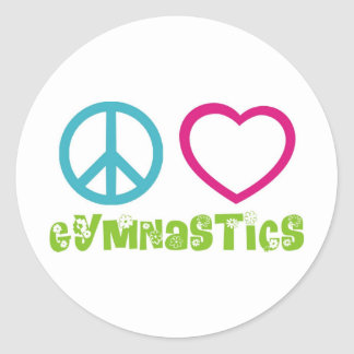 Peace Love Gymnastics Classic Round Sticker