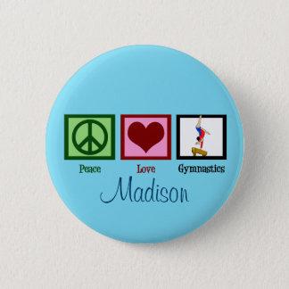 Peace Love Gymnastics Custom Cute 2 Inch Round Button