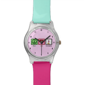 Peace Love Gymnastics Pink Teal Watch
