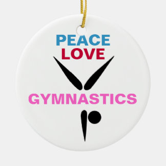 Peace Love Gymnastics Round Ornament