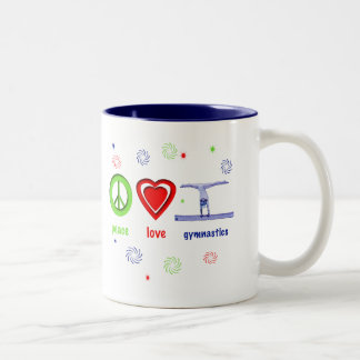 Peace Love Gymnastics Two-Tone Coffee Mug