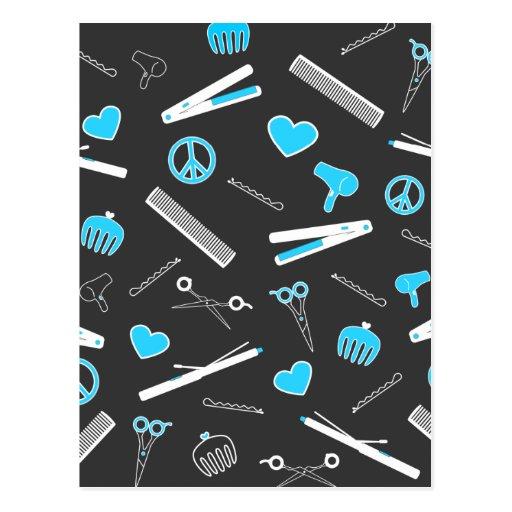 Peace, Love, & Hair Accessories (Light Blue Dark) Postcards