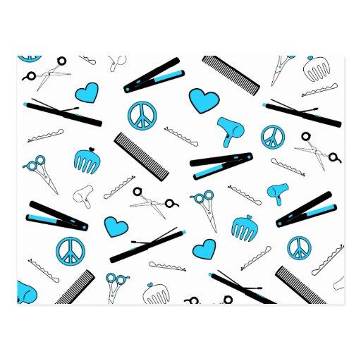 Peace, Love, & Hair Accessories (Light Blue) Post Card