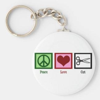 Peace Love Haircuts Basic Round Button Keychain