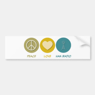 Peace Love Ham Radio Bumper Sticker