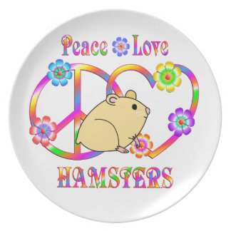 Peace Love Hamsters Plate